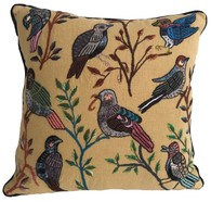 "Handwoven and Hand Embroidered Bird Pillow  Guatemala (16"" x 16"")"