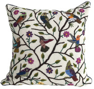 "Handwoven and Hand Embroidered Bird Pillow on natural  Guatemala (18"" x 18"")"