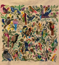 "Handembroidered Bird  Panel Guatemala (16""x16"")"
