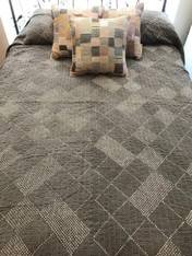 "Handmade Hand Stitched Cotton Bandhani Grey Natural Dyed Quilt Bedspread  (85"" x 100"""