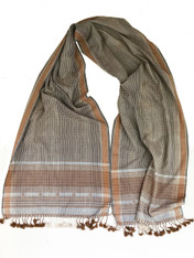 """Handwoven Natural Dyed Silk and Cotton Scarf B India (16"""" x 72"""")"""