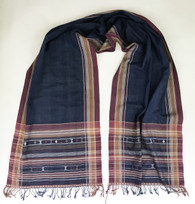 "Handwoven Natural Dyed Silk and Cotton Scarf C India (16"" x 72"")"