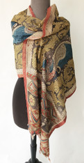 "Handmade Handpainted Natural Dyed  Kalamkari B Scarf (20"" x 74"")"
