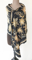 "Handmade Embroidered Silk Shawl India (20"" x 78"")"