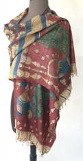 "Handmade Handpainted Natural Dyed  Kalamkari D Scarf (20"" x 78"")"