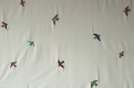 "Handwoven Embroidered Cotton Flying Birds fabric by the yard Guatemala (50"" wide x 36"") Featured in the New York Times."