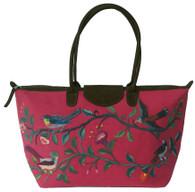 "Handwoven Embroidered Rose Santiago Satchel Guatemala (13"" x 24"")"