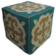 "Handmade Turquoise Felt Wool Ottoman 5 Kyrgyzstan (18"" x 18"")"