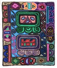 "Handmade Hooked Rug  Maya Symbols Guatemala 8 (19"" x 23"")"