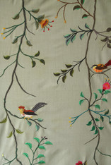 "Handwoven Embroidered Cotton Sage Green Vining Bird Panels Guatemala (50"" x 108"")"