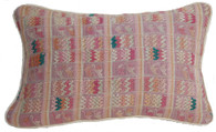 "Handwoven Brocade Pinks Pillow Guatemala (11"" x 16"")"