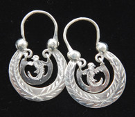 Handmade Traditional Engraved Hoops with Quetzal Earrings Guatemala