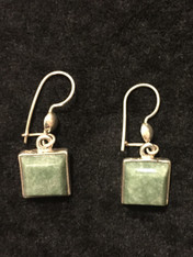 Handmade Square Light Green Jade Earrings Guatemala
