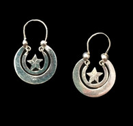 "Handmade Traditional Sterling Star Hoop Earrings Guatemala (1.25"" x .75"")"