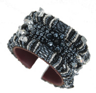 Handmade Black and Crystal Beaded Cuff Guatemala