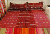 "Handwoven Rayon Colotenango Coverlet with Pillow Shams Guatemala (88"" x 81"")"