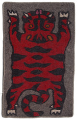 "Handmade Wool Felt Tiger Rug 7 Afghanistan (30"" x 48"")"