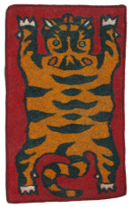 "Handmade Wool Felt Tiger Rug 8 Afghanistan (30"" x 48"")"