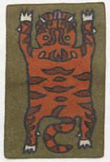 "Handmade Wool Felt Tiger Rug 10 Afghanistan (30"" x 48"")"