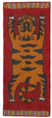 "Handmade Wool Felt Tiger Yoga Mat Rug 12 Afghanistan (30"" x 72""))"