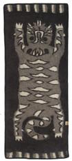 "Handmade Wool Felt Tiger Yoga Mat Rug 13 Afghanistan (30"" x 72"")"