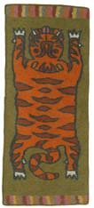 "Handmade Wool Felt Tiger Rug 14 Afghanistan (30"" x 72"")"