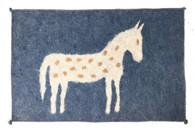 "Handmade Felt Wool Horse Rug on Blue Afghanistan (30"" x 48"")"