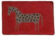 "Handmade Felt Wool Spotted Horse on Red Afghanistan (30"" x 48"")"