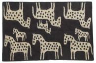 "Handmade Wool Felt Many Horse Rug Afghanistan Charcoal (48"" x 72"")"