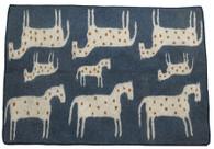 "Handmade Wool Felt Many Horse Rug Afghanistan 23 (60"" x 84"")"