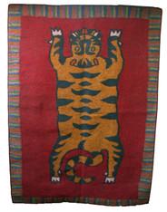"Handmade Wool Felt Tiger Area Rug Afghanistan (66"" x 90"")"