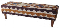 "Handmade Wool Afghani Felt Bench 1 (60"" x 18"")"