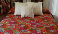 "Hand Stitched Cotton Coverlet in Reds India (88"" x 100"")"