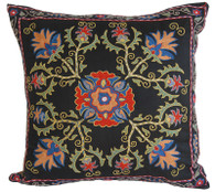 "Hand Embroidered Silk Pillow 10  Uzbekistan (20"" x 20"")"