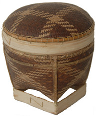 "Handmade Traditional Tingkep Basket 4 Phillippines (5"" x 5.5"")"