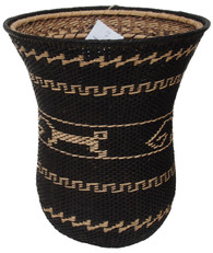 "Ye'kwana Basket Black and White Venezuela (6.25"" x 6.75')"