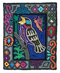 "Handmade Singing Bird Hooked Rug of Recycled Clothing Guatemala  7 (18"" x 23"")"