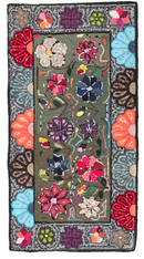 "Handmade Hooked Rug of Recycled Clothing Guatemala 16 (24"" x 48"")"