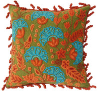 "Peru Woolen Hand Woven and Embroidered Pillow Oranges and Turquiose on Olive (16""x16"")"