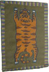 "Handmade Wool Felt Tiger Area Rug, Afghanistan (66"" x 90"")"