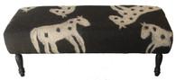 """Handmade Wool Felt Pony Design Bench  Afghanistan (20""""W x 50""""L)"""