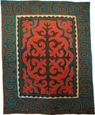 "Handmade Wool Felt Shyrdak Rug Kyrgyzstan (66"" x 108"")"
