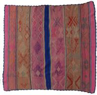 """Handwoven Woolen Blanket Frazada or Rug Peru (57"""" x 59"""")"""
