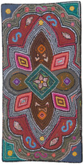 "Handmade Hooked Rug of Recycled Clothing Guatemala 1-12 (24"" x 48"")"