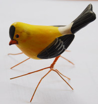 "Handmade and Hand Painted Ceramic Goldfinch Guatemala (2.5"" x 4"")"