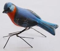 "Blue Bird Hand Painted Ceramic Bird from Guatemala (2.25"" x 3.5"" x 4.5"")"