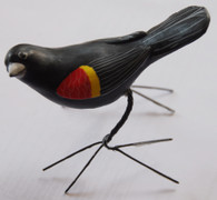 "Red Winged Blackbird Hand Painted Ceramic Bird from Guatemala (2.25"" x 3.5"" x 4.5"")"