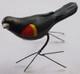 "Red Winged Blackbird Hand Painted Ceramic Bird from Guatemala (2.25"" x 3.5"" x 4.5"")"
