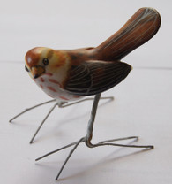 "Wood Thrasher Hand Painted Ceramic Bird Guatemala (2.5"" x 4"")"