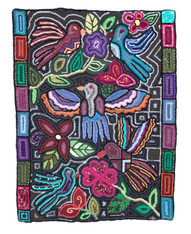 "Handmade Hooked Floral and Birds Rug of Recycled Clothing Guatemala 15 (24"" x 36"")"